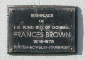 Plaque on Frances Browne's house