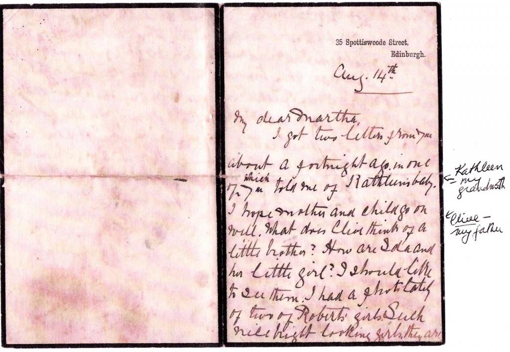 Frances Browne Arthur letter 1