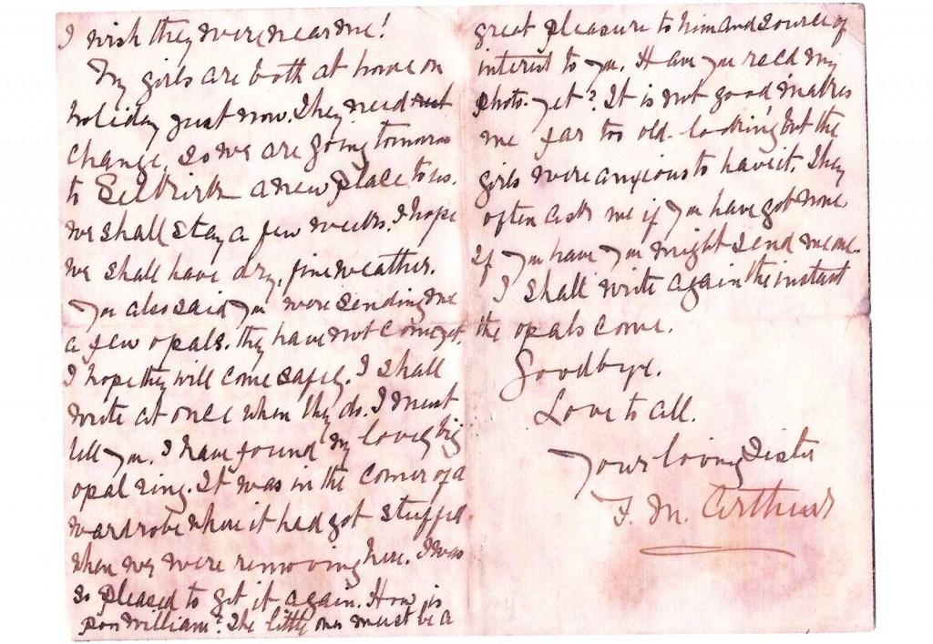 Frances Browne Arthur letter 2