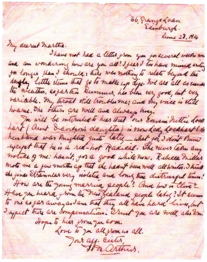 Frances Browne Arthur letter 3